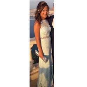 Light Blue Lace Prom Dress